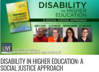 Green background to the left is a book with the words disability in higher education. On the right images of four white cis-gender women with glasses.